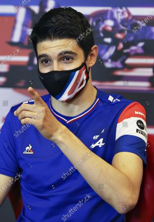Alpine driver Esteban Ocon of France speaks during a media conference ahead of the Formula One Grand Prix at the Baku Formula One city circuit in Baku, Azerbaijan,. The Azerbaijan Formula One Grand Prix will take place on Sunday