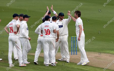 Michael Hogan of Glamorgan celebrates bowling out Dane Vilas for LBW, his 400th first class wicket for Glamorgan.