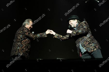 Spanish singers Joan Manuel Serrat and Joaquin Sabina perform on stage at Wizink Center February 11, 2020 in Madrid, Spain.