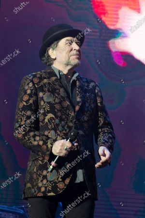 Stock Photo of Spanish singer and songwriter Joaquin Sabina performs on stage at Wizink Center February 11, 2020 in Madrid, Spain.