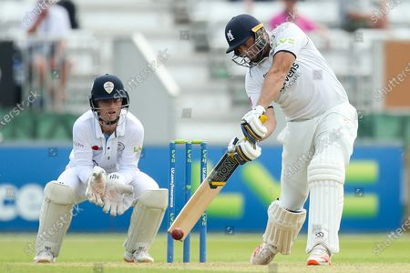 Tim Bresnan of Warwickshire goes on the attack whilst batting