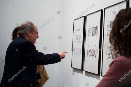 Stock Photo of Writer Ignacio Gomez de Liano during the presentation of the exhibition 'Abandon the writing' (Abandonar la escritura) at the Museo Museo Reina Sofía in Madrid. February 3, 2020 Spain