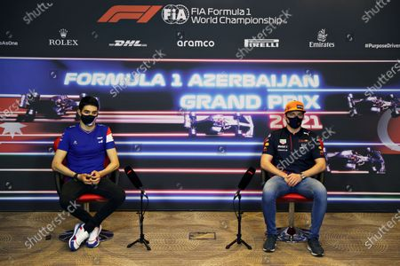 French Formula One driver Esteban Ocon (L) of Alpine F1 Team and Dutch Formula One driver Max Verstappen (R) of Red Bull Racing attend a press conference at the Baku City Circuit in Baku, Azerbaijan, 03 June 2021. The 2021 Formula One Grand Prix of Azerbaijan will take place on 06 June.
