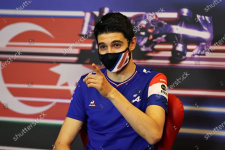 French Formula One driver Esteban Ocon of Alpine F1 Team attends a press conference at the Baku City Circuit in Baku, Azerbaijan, 03 June 2021. The 2021 Formula One Grand Prix of Azerbaijan will take place on 06 June.