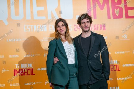 Actors Natalia Tena and Quim Gutierrez attend 'Te quiero, imbecil' photocall at Hotel Urso on January 21, 2020 in Madrid, Spain.