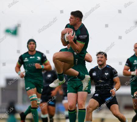 Peter Sullivan catches the ball for Connacht; Galway Sportsgrounds, Galway, Connacht, Ireland; Rainbow Cup Rugby, Connacht versus Ospreys.