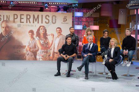Spanish actors Jose Coronado, Marta Larralde, Patrick Criado, Alex Gonzalez, Claudia Traisac and Pilar Castro attend 'Vivir Sin Permiso' Mediaset Presentation on January 10, 2020 in Madrid, Spain