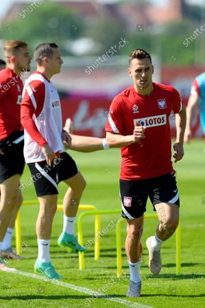 Polish national soccer team players Piotr Zielinski (C) and Arkadiusz Milik (R) during a training session in Opalenica, Poland, 03 June 2021. Poland is preparing for the UEFA EURO 2020 tournament and will face Spain, Sweden and Slovakia in their Group E stage.