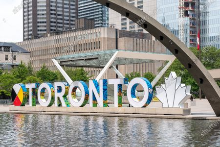 The new 3D Toronto sign in Nathan Phillips Square in the downtown district of Toronto city, Canada