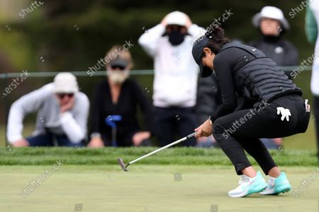 Michelle Wie West misses her putt on the fifth green during the first round of the U.S. Women's Open golf tournament at The Olympic Club, in San Francisco