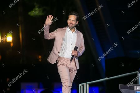 Paul Rudd, the actor who plays Ant-Man, takes the stage to make remarks at the grand opening ceremony of Disney California Adventure's new Avengers Campus on Wednesday, June 2, 2021 in Anaheim, CA. (Jason Armond / Los Angeles Times)
