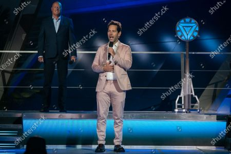 Paul Rudd, the actor who plays Ant-Man, gives remarks at the grand opening ceremony of Disney California Adventure's new Avengers Campus on Wednesday, June 2, 2021 in Anaheim, CA. (Jason Armond / Los Angeles Times)