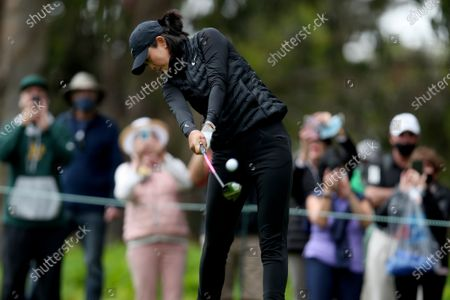 Michelle Wie West plays her shot from the fifth tee during the first round of the U.S. Women's Open golf tournament at The Olympic Club, in San Francisco