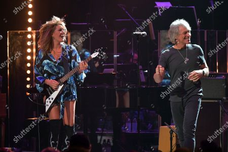 Stock Photo of Grace Potter and Jon Bon Jovi perform at the Fifth Annual Love Rocks NYC Benefit Concert Livestream for God's Love We Deliver.