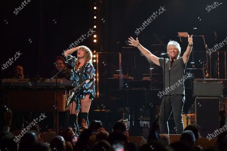 Stock Picture of Grace Potter and Jon Bon Jovi perform at the Fifth Annual Love Rocks NYC Benefit Concert Livestream for God's Love We Deliver.