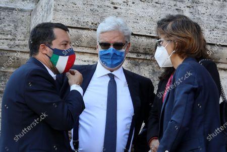 Stock Image of Matteo Salvini, Maurizio Turco, Giulia Bongiorno