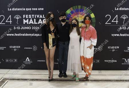 Spanish actress Maria Hervas (1-L), Marina Salas (R-2), Carolina Yuste (R-1) and actor Alex Monner (2-L)
