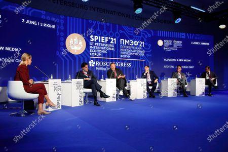 "Stock Picture of Speaker Ksenia Sobchak, Journalist, TV presenter at the St. Petersburg International Economic Forum, The Business programme on ""Bloggers: A New Media?""."