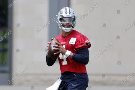 Dallas Cowboys quarterback Dak Prescott (4) throws during an NFL football in Frisco, Texas