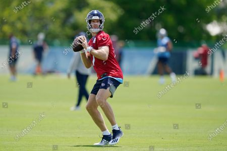 Stock Image of Tennessee Titans quarterback Ryan Tannehill throws during an NFL football practice, in Nashville, Tenn