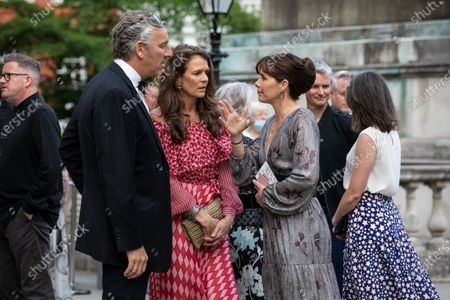 Dame Darcey Bussell presents the first ever British Ballet Charity Gala at the Royal Albert Hall, UK photographed chatting with Annabel Croft and her husband before the event