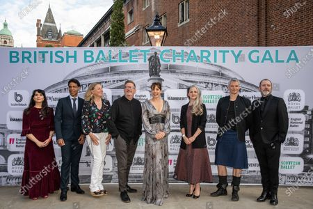 Stock Image of Dame Darcey Bussell presents the first ever British Ballet Charity Gala at the Royal Albert Hall, UK photographed with Carlos Acosta, Director of Birmingham Royal Ballet photographed with members of the ballet society directors (left to right) Cassa Pancho, Carlos Acosta, Louise Hare, Sir Matthew Bourne, Dame Darcey Bussell, Hannah Bateman, Benoit Swan Pouffer, Christopher Hampson and Kevin O'Hare
