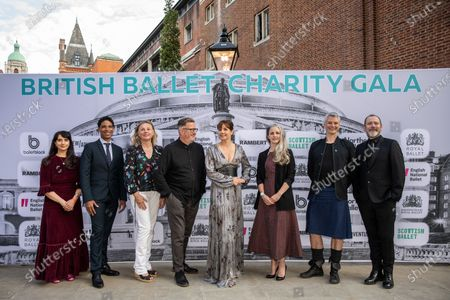 Stock Picture of Dame Darcey Bussell presents the first ever British Ballet Charity Gala at the Royal Albert Hall, UK photographed with Carlos Acosta, Director of Birmingham Royal Ballet photographed with members of the ballet society directors (left to right) Cassa Pancho, Carlos Acosta, Louise Hare, Sir Matthew Bourne, Dame Darcey Bussell, Hannah Bateman, Benoit Swan Pouffer, Christopher Hampson and Kevin O'Hare