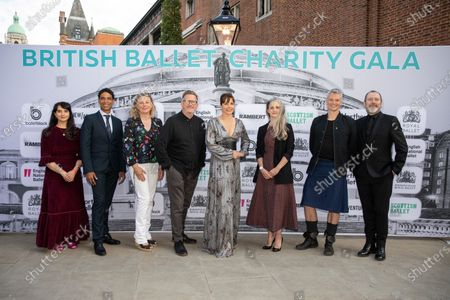Dame Darcey Bussell presents the first ever British Ballet Charity Gala at the Royal Albert Hall, UK photographed with Carlos Acosta, Director of Birmingham Royal Ballet photographed with members of the ballet society directors (left to right) Cassa Pancho, Carlos Acosta, Louise Hare, Sir Matthew Bourne, Dame Darcey Bussell, Hannah Bateman, Benoit Swan Pouffer, Christopher Hampson and Kevin O'Hare