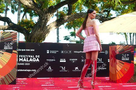 Spanish actress Maria Hervas on the red carpet inside Miramar hotel.