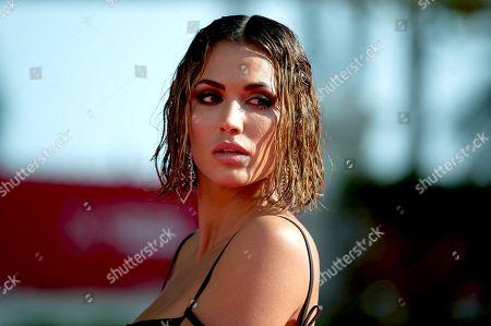 Stock Photo of Spanish actress Michelle Calvo on the red carpet inside Miramar hotel.