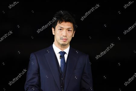 Ryota Murata : The Tokyo Organising Committee of the Olympic and Paralympic Games (Tokyo 2020) unveil the items that will be used during Victory Ceremonies at the Tokyo 2020 Games, at Ariake Arena in Tokyo, Japan. The items include the Podium, Costume, Music which will be played at the Victory Ceremonies and the Medal Tray.
