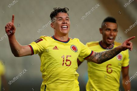 Colombia's Mateus Uribe celebrates after scoring against Peru during the South American Qatar World Cup 2022 qualifiers soccer match between Colombia and Peru at the Nacional Stadium in Lima, Peru, 03 June 2021.