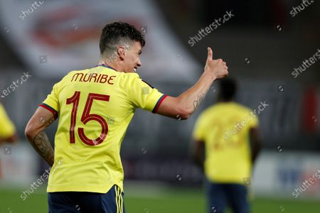 Colombia's Mateus Uribe celebrates after scoring against Peru, during the South American Qatar World Cup 2022 qualifiers soccer match between Colombia and Peru at the Nacional Stadium in Lima, Peru, 03 June 2021.