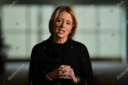 Stock Image of Shadow Minister for Home Affairs Kristina Keneally speaks at a press conference at Parliament House in Canberra, Australia, 04 June 2021.
