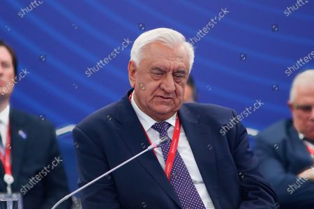 """Stock Photo of Mikhail Myasnikovich, Chairman of the Board, Eurasian Economic Commission seen during the St. Petersburg International Economic Forum, The Business programme on """"The Effectiveness of Intergovernmental Regulation in Transforming Global Trade""""."""