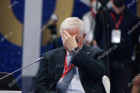 """Stock Picture of Mikhail Myasnikovich, Chairman of the Board, Eurasian Economic Commission seen during the St. Petersburg International Economic Forum, The Business programme on """"The Effectiveness of Intergovernmental Regulation in Transforming Global Trade""""."""