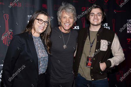 Dorothea Bongiov, left, Jon Bon Jovi and Romeo Bongiovi arrive to the fifth annual Love Rocks NYC concert to benefit God's Love We Deliver at the Beacon Theatre, in New York
