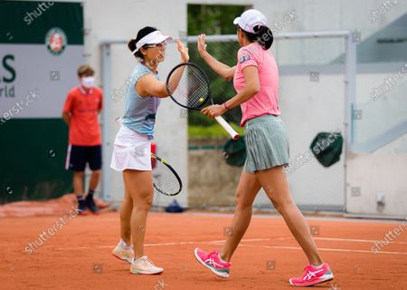 Shuai Zhang & Yifan Xu of China in action during the second doubles round of the 2021 Roland Garros Grand Slam Tournament