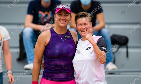 Nicole Melichar of the United States & Demi Schuurs of the Netherlands playing doubles at the 2021 Roland Garros Grand Slam Tournament