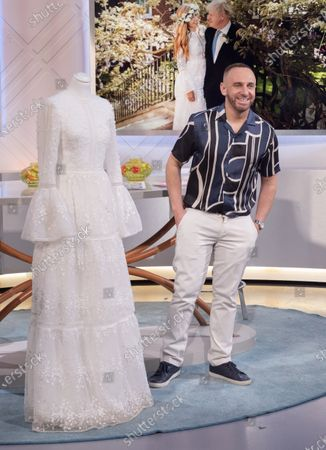 Mark Heyes with Carrie Symonds £2,900 bohemian gown wedding dress designed by Christos Costarellos