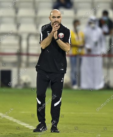 (210604) - DOHA, June 4, 2021 (Xinhua) - Head coach Felix Sanchez of Qatar reacts during the FIFA World Cup Qatar 2022 and AFC Asian Cup China 2023 Preliminary Joint Qualification football match against India in Doha, Capital of Qatar, June 3, 2021.
