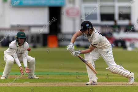 Miles Hammond with Sam Evans at short leg during Day 2 of the LV= Insurance County Championship match between Leicestershire County Cricket Club and Gloucestershire County Cricket Club at the Uptonsteel County Ground, Leicester