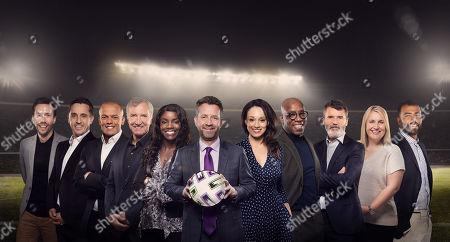 Stock Photo of (l-r) Sam Matterface, Gary Neville, Robert Earnshaw, Graeme Souness, Eni Aluko Mark Pougatch, Seema Jaswal, Ian Wright, Roy Keane, Emma Hayes and Ashley Cole