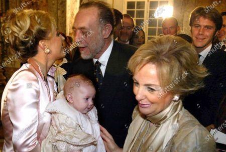 Caserta Baptism Maria Carolina Di Borbone in Camilla Greeted by the Duke Amedeo D'Aosta Behind His Shoulders Prince Emanuele Filiberto