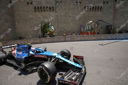 Alpine driver Esteban Ocon of France steers his car during the first free practice at the Baku Formula One city circuit, in Baku, Azerbaijan, . The Formula one race will be held on Sunday