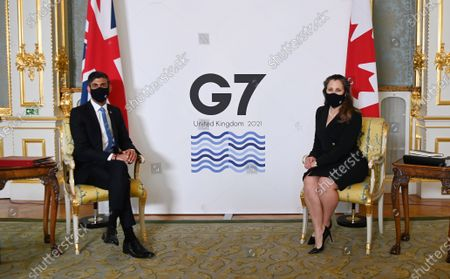 British Chancellor of the Exchequer Rishi Sunak (L) with Canadian Finance Minister Chrystia Freeland (R) at Lancaster House during the G7 Finance Ministers meeting in London, Britain, 04 June 2021. British Chancellor Sunak will host G-7 Finance ministers and Central bank chiefs, ahead of the main G7 summit scheduled for 11- 13 June 2021.