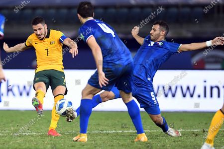 (210604) - KUWAIT CITY, June 4, 2021 (Xinhua) - Mathew Leckie (L) of Australia lives with Fahad Alhajri (R) of Kuwait during the FIFA World Cup Qatar 2022 and AFC Asian Cup 2023 Preliminary Joint Qualification football match in Kuwait City, Kuwait, June 3, 2021.