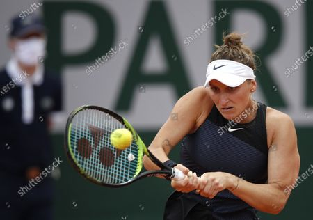 Marketa Vondrousova of the Czech Republic in action against Polona Hercog of Slovenia during their third round match at the French Open tennis tournament at Roland Garros in Paris, France, 04 June 2021.