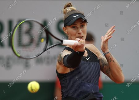 Polona Hercog of Slovenia in action against Marketa Vondrousova of the Czech Republic during their third round match at the French Open tennis tournament at Roland Garros in Paris, France, 04 June 2021.