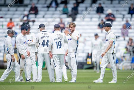 Yorkshire's David Willey celebrates dismissing Sussex's Henry Crocombe..